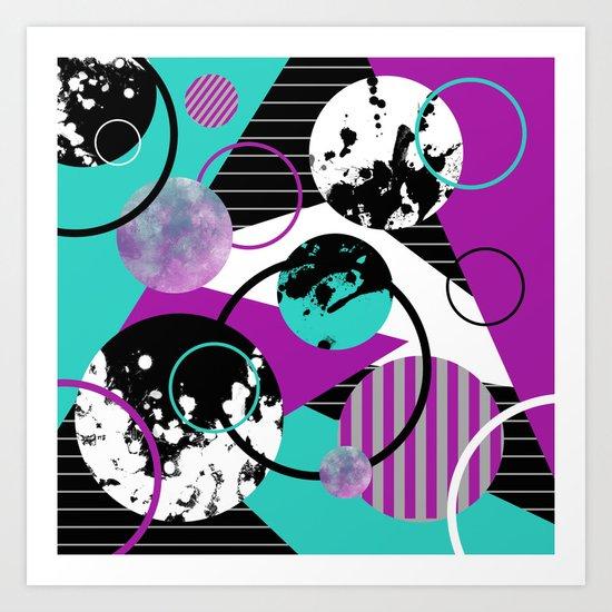 Eclectic Geometric (Abstract blue, purple, black, white) Art Print