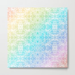 subway delays doodle repeating pattern abstract rainbow Metal Print