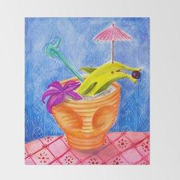 Tiki Drink no.2 with banana dolphin Throw Blanket