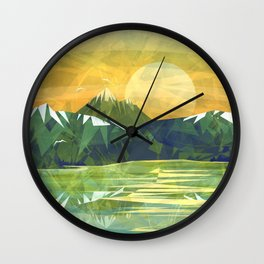 Mountains and Sunset over the lake Wall Clock
