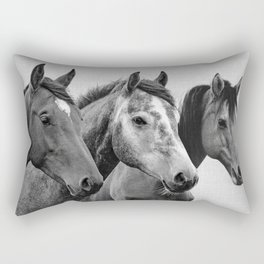Horses - Black & White 3 Rectangular Pillow