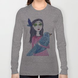 The blue bird landed on her chest Long Sleeve T-shirt