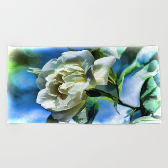 Summer White Rose  Beach Towel