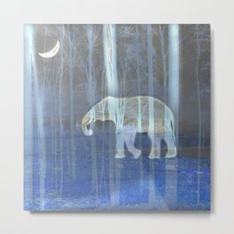 Moonlight with elephant Metal Print