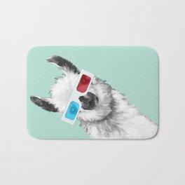 Sneaky Llama with 3D Glasses #01 Bath Mat