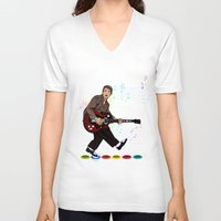 marty mcfly V-neck T-shirts featuring Marty McFly plays Guitar Hero by Akyanyme
