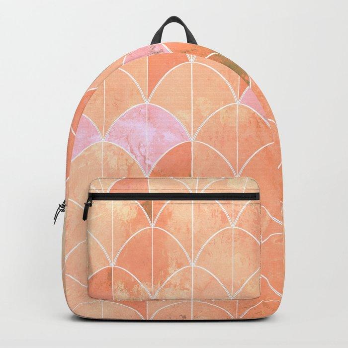 Mermaid scales. Peach and pink watercolors. Backpack