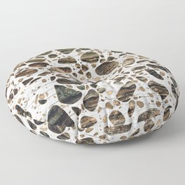 Terrazzo - Mosaic - Wooden texture and gold #4 Floor Pillow