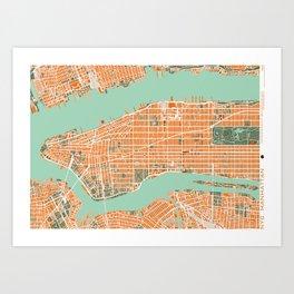 New York city map orange Art Print