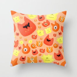 Monster faces Throw Pillow
