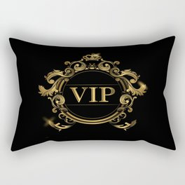 VIP In Black and Goldtone Rectangular Pillow