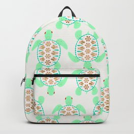 Sea turtle green pink and metallic accents Backpack