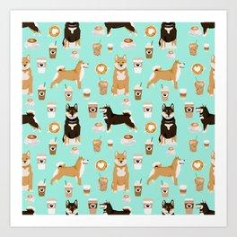 Shiba Inu coffee dog breed pet friendly pet portrait coffees pattern dogs Art Print