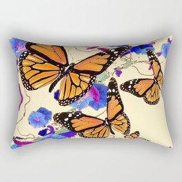 YELLOW MONARCH BUTTERFLY GARDEN & BLUE MORNING GLORIES ART Rectangular Pillow