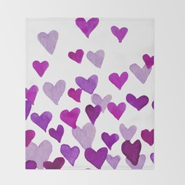 Valentine's Day Watercolor Hearts - purple Throw Blanket