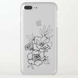 Peony Blossoms Vertical - Black Clear iPhone Case