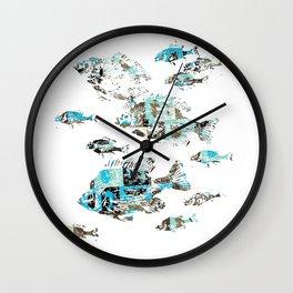 Pool of fish art print Wall Clock