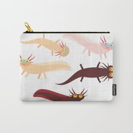 Cute orange pink brown Axolotl Cartoon character (Mexican salamander, Ambystoma mexicanum) Carry-All Pouch