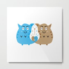 Two sweet cats in love #society6 #decor #buyart #artprint Metal Print
