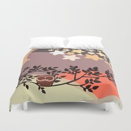 Quiet and peaceful night, cute owl snooze on the tree Duvet Cover