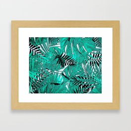 Tropical leaves background texture Framed Art Print
