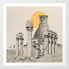 Giant Cheetah in Ruins Art Print