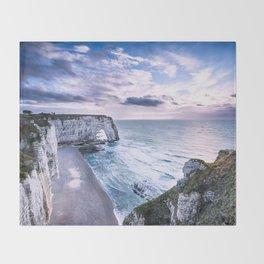 Natural Rock Arch -  ocean, coastal cliffs, waves, clouds, Throw Blanket