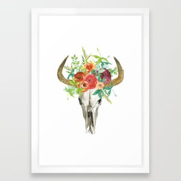 Bohemian bull skull with flowers Framed Art Print