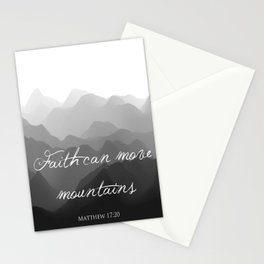 Faith Can Move Mountains Religious Bible Verse Art - Matthew 17:20 Stationery Cards