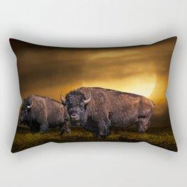 American Buffalo Bison under a Super Moon Rise Rectangular Pillow