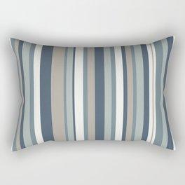 Vertical Stripes in Neutral Blue Gray Shades Rectangular Pillow