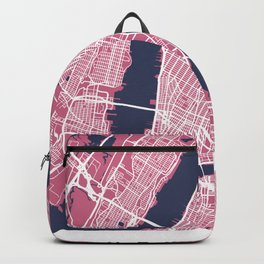 New York Map | Pink | More Colors, Review My Collections Art Print Backpack