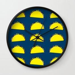 omg tacos! on navy Wall Clock