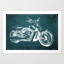 2011 HD VRSCF V-Rod Muscle green blueprint Art Print