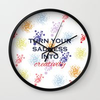 creativity Wall Clocks featuring Creativity by Roxana C.
