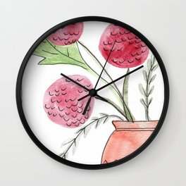poofy flowers in a pot Wall Clock