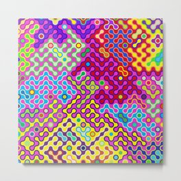 Abstract Psychedelic Pop Art Truchet Tile Pattern Metal Print