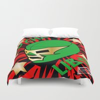 mucha Duvet Covers featuring Mucha Lucha by Los Espada Art