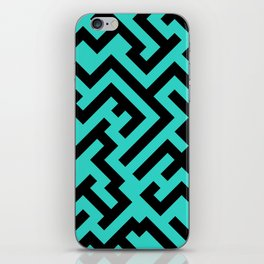 Black and Turquoise Diagonal Labyrinth iPhone Skin