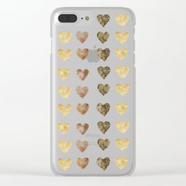 Gold and Chocolate Brown Hearts Clear iPhone Case