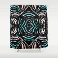 water colour Shower Curtains featuring Water Colour Spine Weave by Cezanne Agatha Gramson