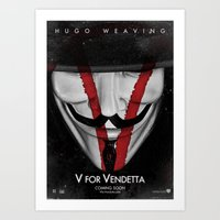 vendetta Art Prints featuring Vendetta (V) by Alecxps