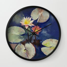 Water Lily Painting Wall Clock