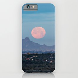 Moon Over Tucson - Full Moon Sets Early Morning in Tucson Arizona iPhone Case