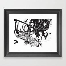 Elk black Framed Art Print