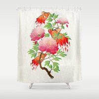 goldfish Shower Curtains featuring goldfish by Manoou