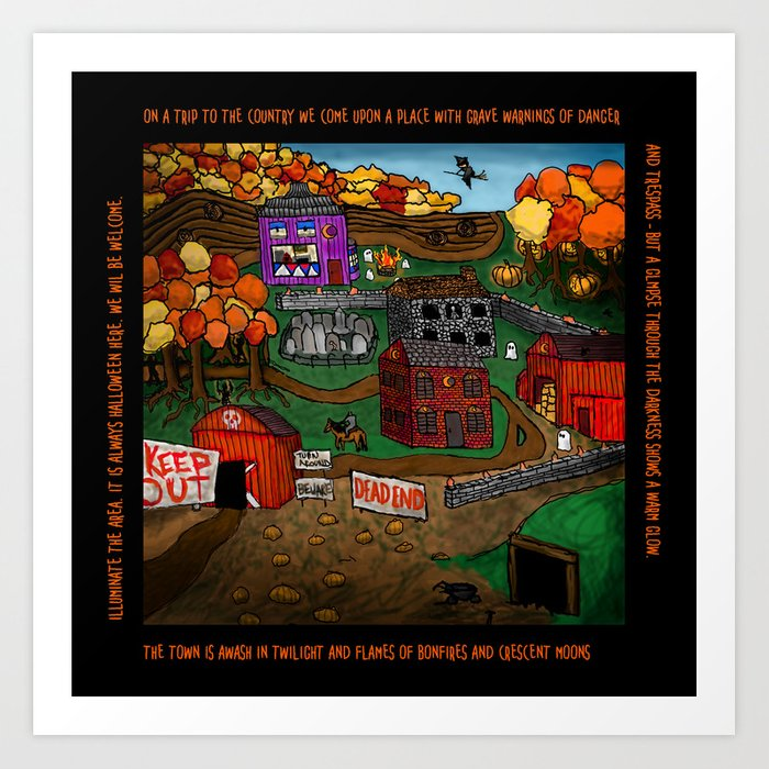 Halloween Dream Town Art Print
