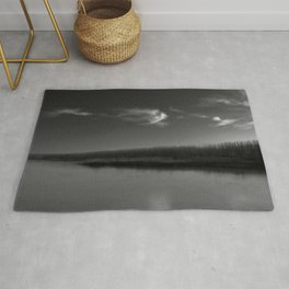 Winter Lake in Black and White Rug