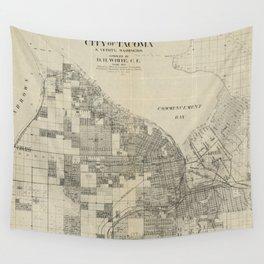 Vintage Map of Tacoma Washington (1907) Wall Tapestry
