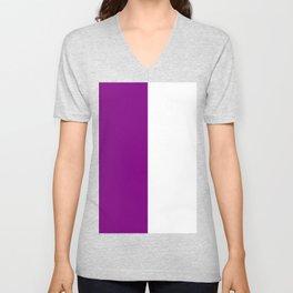 White and Purple Violet Vertical Halves Unisex V-Neck